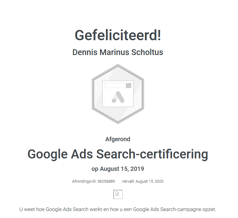 Dennis Marinus Scholtus Google Ads Search