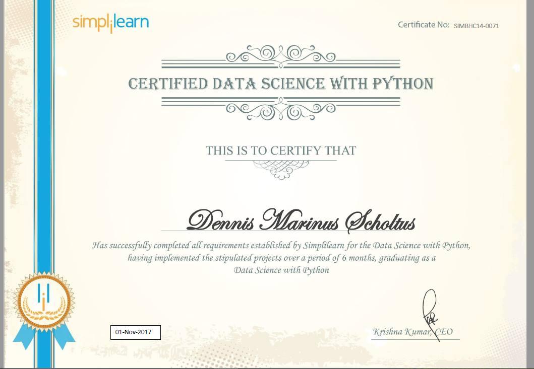 Dennis marinus Scholtus data science